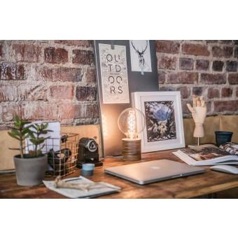 """Lichtliebe Tischleuchte """"Fafoo"""" in dunkelbraun und schwarz-weiß, inkl. Edison Spiral LED im Retro Design mit nur 1,8 Watt"""
