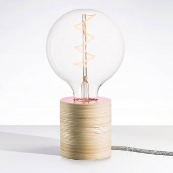 """Lichtliebe Tischleuchte """"Fafoo"""" in altrosa und grau meliert inkl. Edison Spiral LED im Retro Design mit nur 1,8 Watt"""