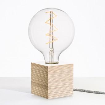 """Lichtliebe Tischleuchte """"Rekoo"""" in weiß und grau meliert inkl. Edison Spiral LED im Retro Design mit nur  1,8 Watt"""