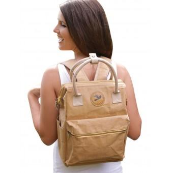 PAPERO Rucksack LYNX aus Kraft- Papier 2 in 1 Handtasche, robust, leicht wasserfest, vegan, nachhaltig, fair Urban Style | Nachwachsendes Material mit FSC Zertifikat
