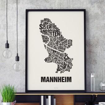 Buchstabenort Mannheim Stadtteile-Poster Typografie Siebdruck