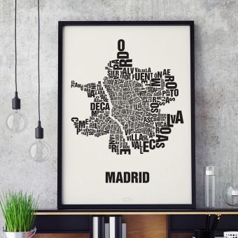 Buchstabenort Madrid Stadtteile-Poster Typografie Siebdruck