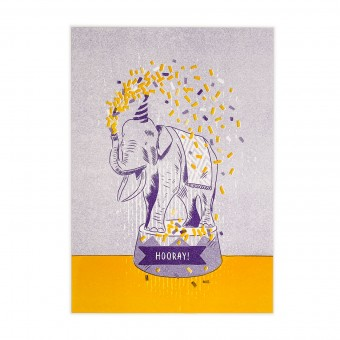 Feingeladen // LOVELY BEASTS // Elephant »Hooray!« (PPSF) // RISO-Kunstdruck, A5