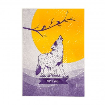 Feingeladen // LOVELY BEASTS // Wolf »Miss you« (PPSF), RISO-Kunstdruck, A5