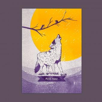 Feingeladen // LOVELY BEASTS // Wolf »Miss you« (PPSF), RISO-Kunstdruck, A5