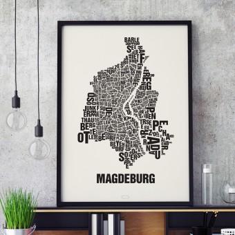 Buchstabenort Magdeburg Stadtteile-Poster Typografie Siebdruck