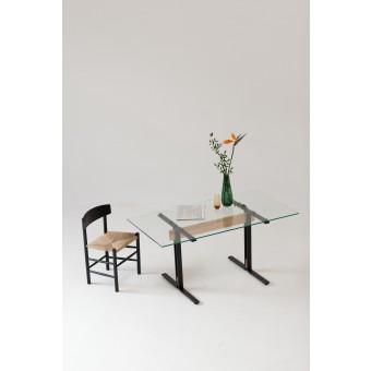 Merlin - Glastisch mit Zarge aus Esche, 90 x 180 cm