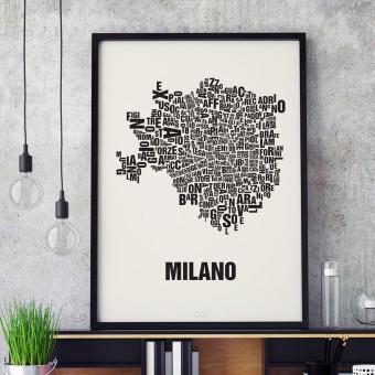 Buchstabenort Mailand Stadtteile-Poster Typografie Siebdruck