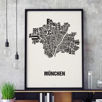 Buchstabenort München Stadtteile-Poster Typografie Siebdruck