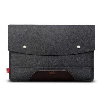 """MacBook Pro / Air 13"""" (bis 2020) Sleeve 100% Merino Wollfilz, Pflanzlich gegerbtes Leder"""