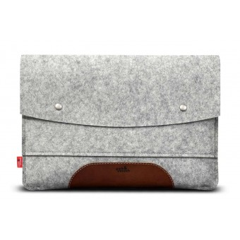 "MacBook Pro 15"" Sleeve (Touch Bar / Touch ID) 100% Merino Wollfilz (Mulesing-frei), Pflanzlich gegerbtes Leder"