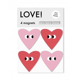 FINE FINE STUFF - Kühlschrankmagnete - Magnete - 4 Stück - LOVE