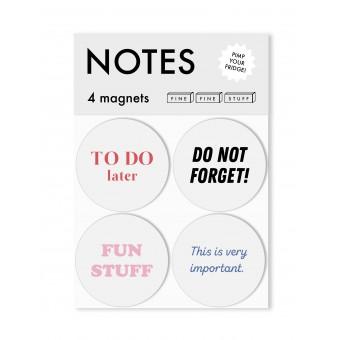 FINE FINE STUFF - Kühlschrankmagnete - Magnete - 4 Stück - NOTES