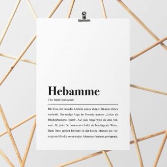 Hebamme Definition: DIN A4 Plakat  - Pulse of Art