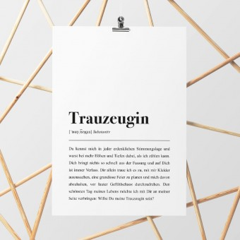 DIN A4 Poster: Trauzeugin Definition - Pulse of Art