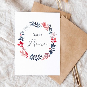 "Paperlandscape | Faltkarte ""Danke Mama"" | botanische Muttertagskarte | Pflanzen"