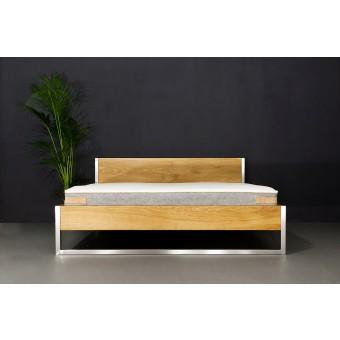 N51E12 - Nature Oak Bett aus Massivholz Eiche und Edelstahl