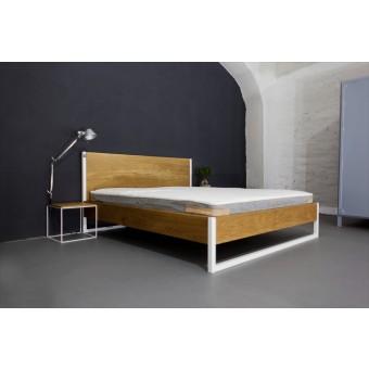 N51E12 - Nature Oak Bett aus Massivholz Eiche und Stahl  - gerade Rückwand