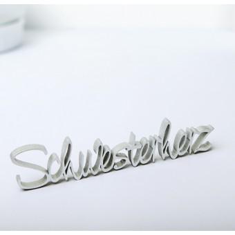 NOGALLERY Schwesterherz - Deko Schriftzug Holz