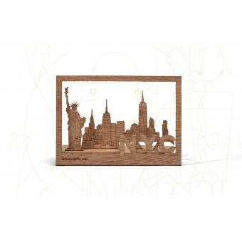 formes Berlin New York-Karte - 6 Postkarten aus Holz