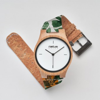 "Naeture Watch ""Papaya Jungle"" - Holzuhr mit veganem Armband"
