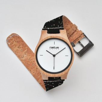 "Naeture Watch ""Constellation"" - Holzuhr mit veganem Armband"