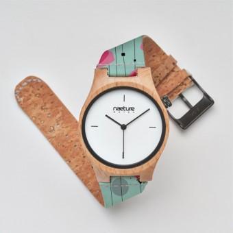 """Naeture Watch """"Coquelicot"""" - Holzuhr mit veganem Armband"""