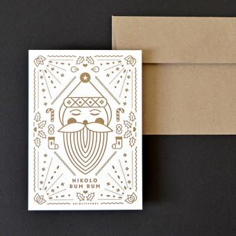 HEIMATFORMAT Nikolo Letterpress kupfer-gold // inkl. Naturpapier-Kuvert