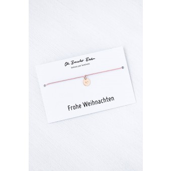 Oh Bracelet Berlin - Nylonarmband mit Herz-Plättchen an »Frohe Weihnachten« Karte | Farbe Roségold
