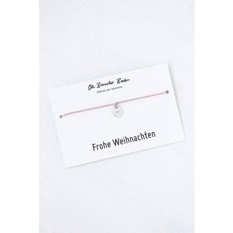 Oh Bracelet Berlin - Nylonarmband mit Herz-Plättchen an »Frohe Weihnachten« Karte | Farbe Silber
