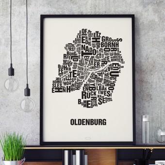 Buchstabenort Oldenburg Stadtteile-Poster Typografie Siebdruck