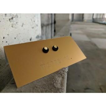 """MONASTINE - Ohrstecker """"Måne №1"""" - Leder schwarz - Stecker Silber vergoldet"""