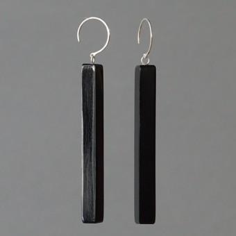 Hornstäbe - margaritifera - Ohrhänger - Horn schwarz und Silber 925