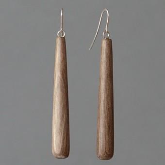 Holztropfen - margaritifera - Ohrhänger - Holz grau und Silber 925
