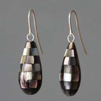 Perlmutttropfen - margaritifera - Ohrhänger - Perlmutt grau und Silber 925