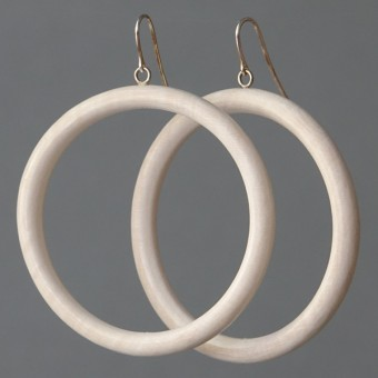 Holzkreise - margaritifera - Ohrhänger - Holz weiß und Silber 925