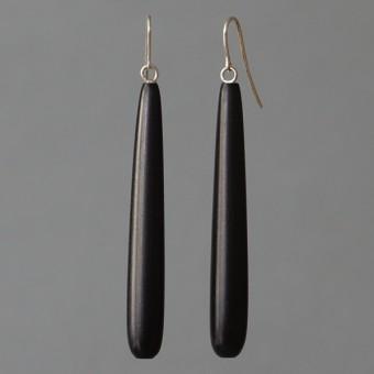 Holztropfen - margaritifera - Ohrhänger - Holz schwarz und Silber 925