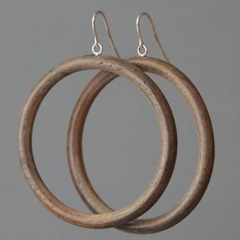 Holzkreise - margaritifera - Ohrhänger - Holz grau und Silber 925