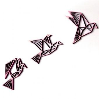 NOGALLERY drei Vögel, fliegend - 3D Holz Motiv & Wand Deko