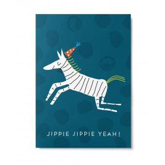 UNTER PINIEN – Fröhliches Zebra – Postkarte