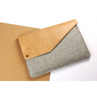 "Alexej Nagel 13"" MacBook Air & Pro Sleeve aus Leder & Filz grau [G]"