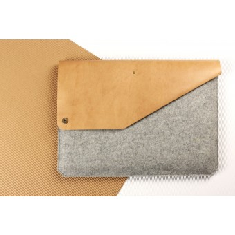 "Alexej Nagel 12""/11"" MacBook Air Sleeve aus Leder & Filz grau [G]"