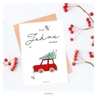 designfeder | Weihnachts-Postkarte Alle Jahre wieder