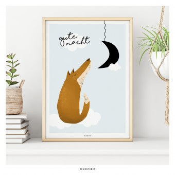 designfeder | Poster Gute Nacht kleiner Fuchs | Junge