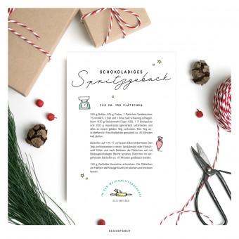 designfeder | Weihnachts-Postkarte Plätzchenrezept 1