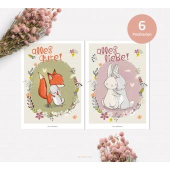 designfeder | Postkarten 6er Set – Alles Liebe und Alles Gute