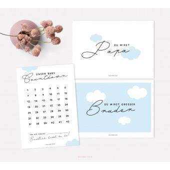 designfeder | Postkarten Baby Countdown + Papa + Bruder