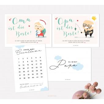 designfeder | Postkarten Baby Countdown + Papa + Oma + Opa
