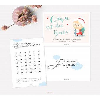 designfeder | Postkarten Baby Countdown + Papa +Oma