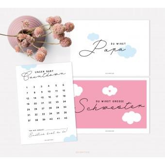 designfeder | Postkarten Baby Countdown + Papa + Schwester